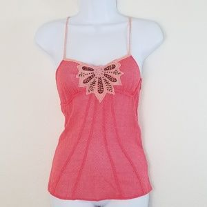 Free People Pink Camisole w Flower Design